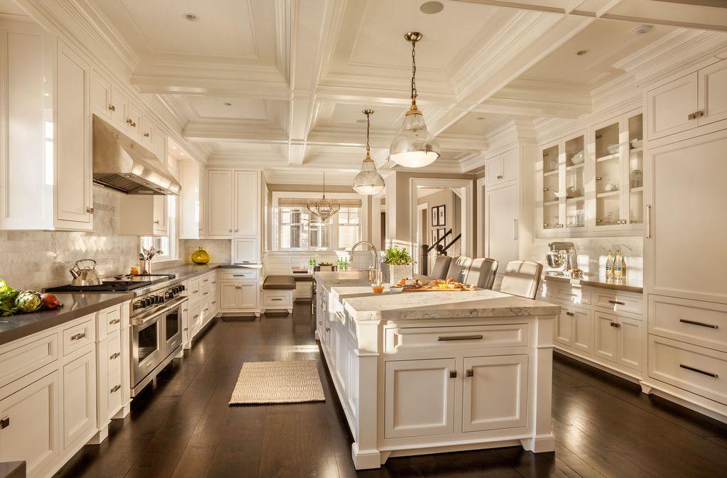 dream kitchens with white kitchen islands go all white with custom ornate woodwork (dream white kitchen) LCQGRZH
