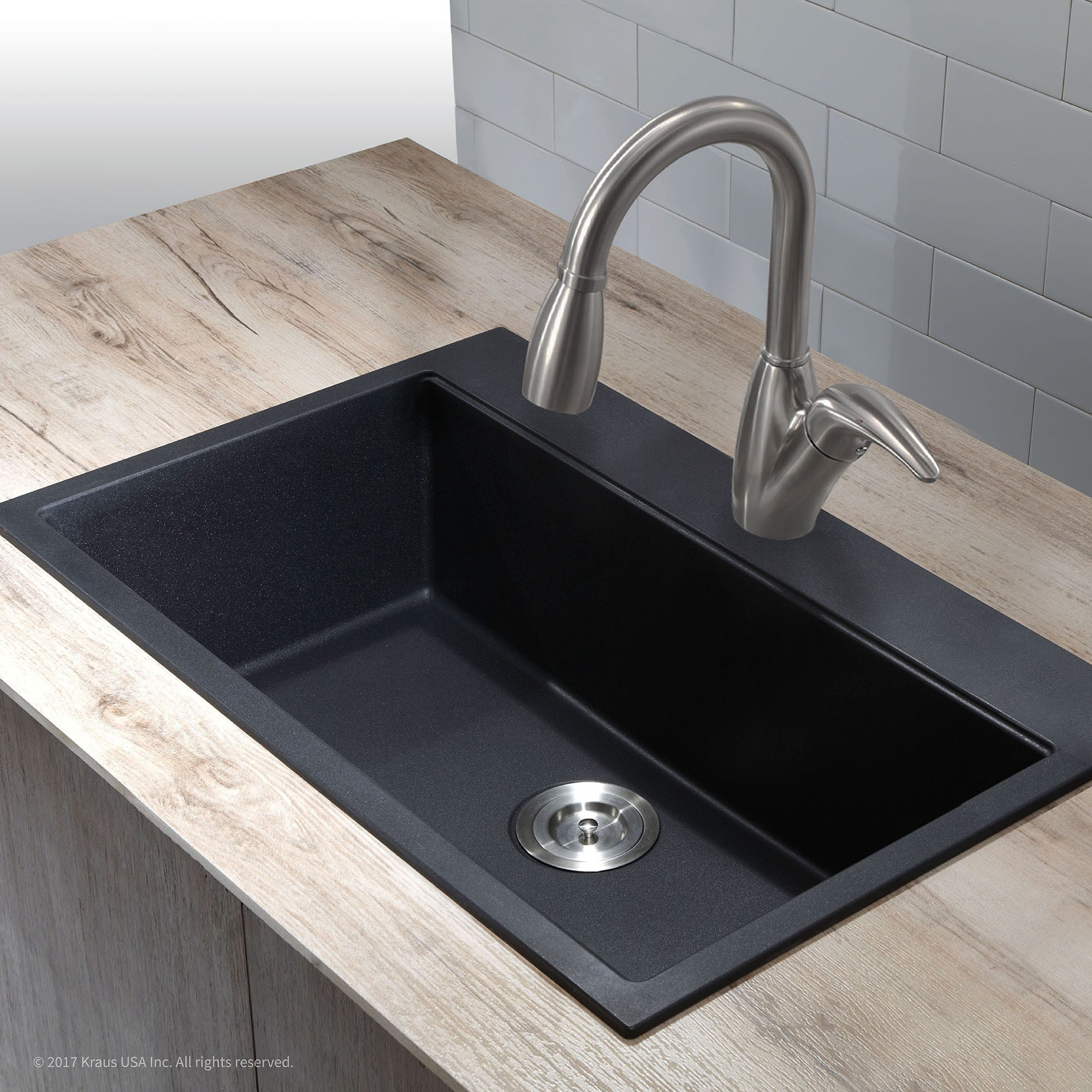 granite or ceramic sink kraus 31 inch dual mount single bowl granite kitchen sink w/ topmount and GLMLTIQ
