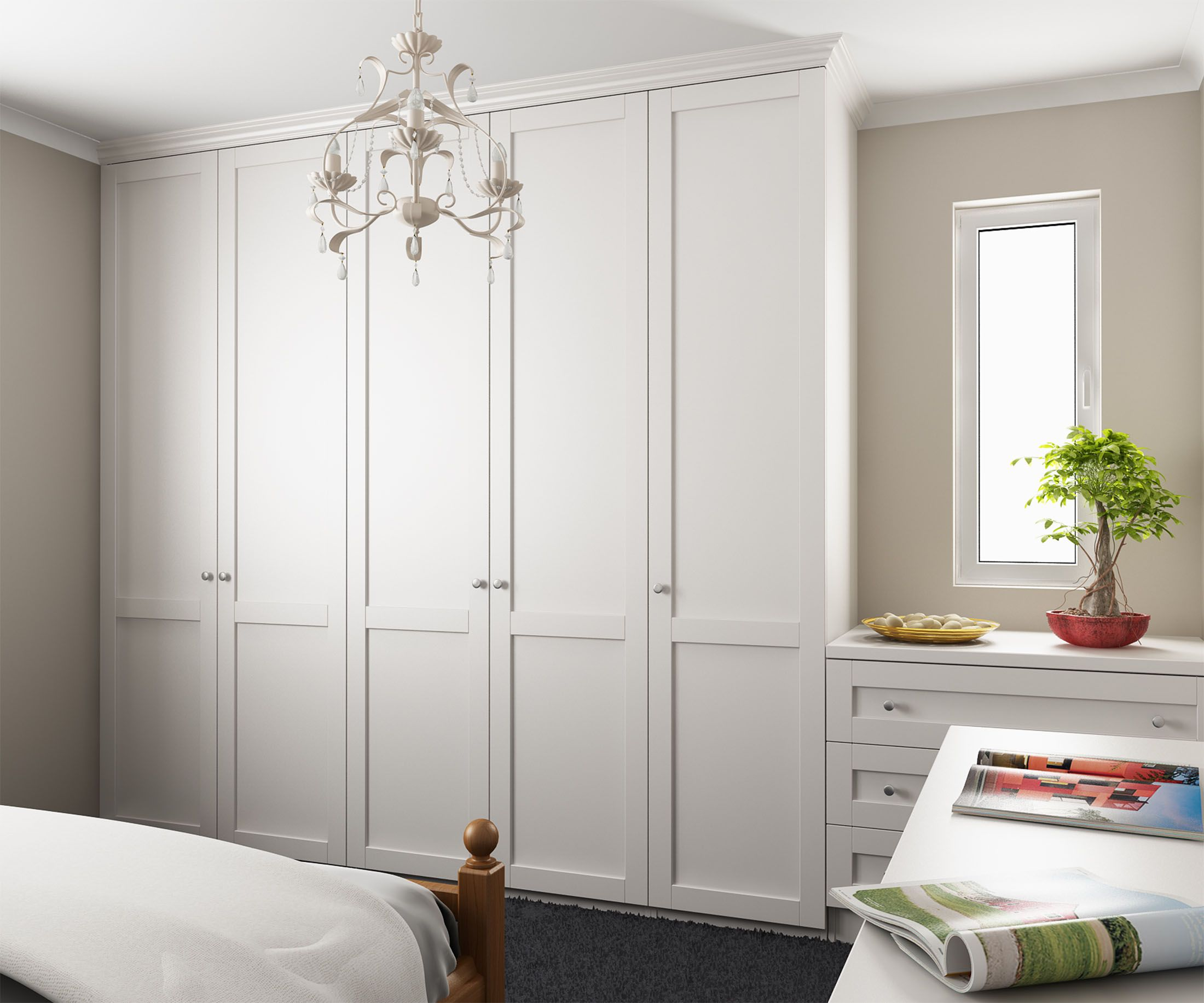 Suit and evening dress kept in style: Hinged-door wardrobes pine painted white