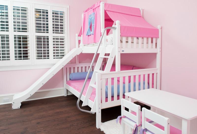 Loft beds with slide and ladder matrix_whitetwinoverfullslide XDCFHUK