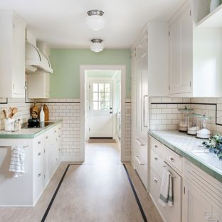 Mint Green kitchen traditional kitchen ideas - example of a classic galley kitchen design in VSQTPDQ