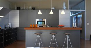 modern kitchen with bar counter kitchen 42 brilliant modern kitchen with plenty of metallic hues 10  fashionable MKZLVJQ