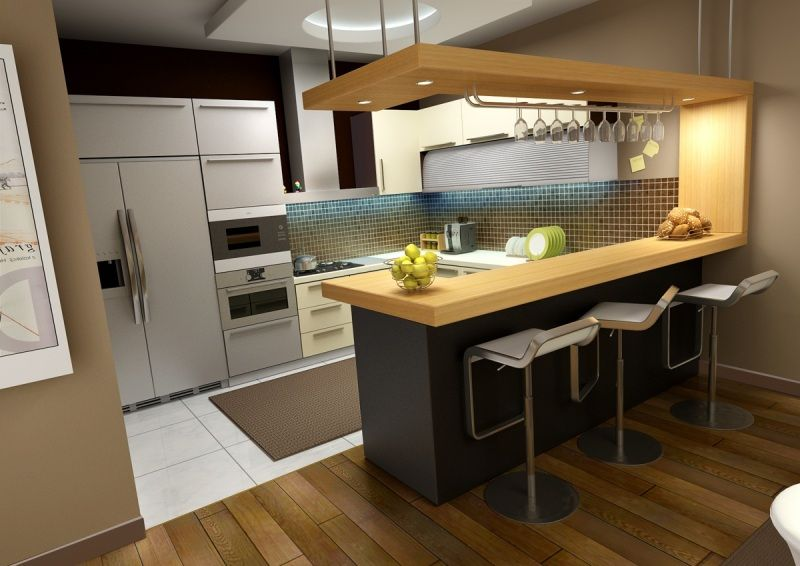 modern kitchen with bar counter kitchen, simple mini bar counter designs for homes with wooden flooring  ideas: XPERELQ
