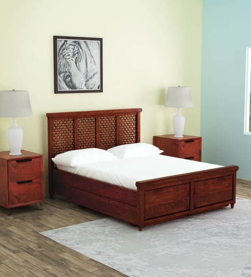 queen size solid wood beds krisa solid wood queen size bed with drawer storage in honey oak finish GQOFRSM