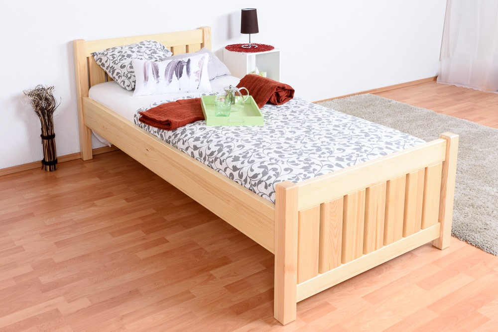 Slatted frames 90×200 single bed 66, solid pine wood, clearly varnished, incl. slatted bed frame BNKXOYI