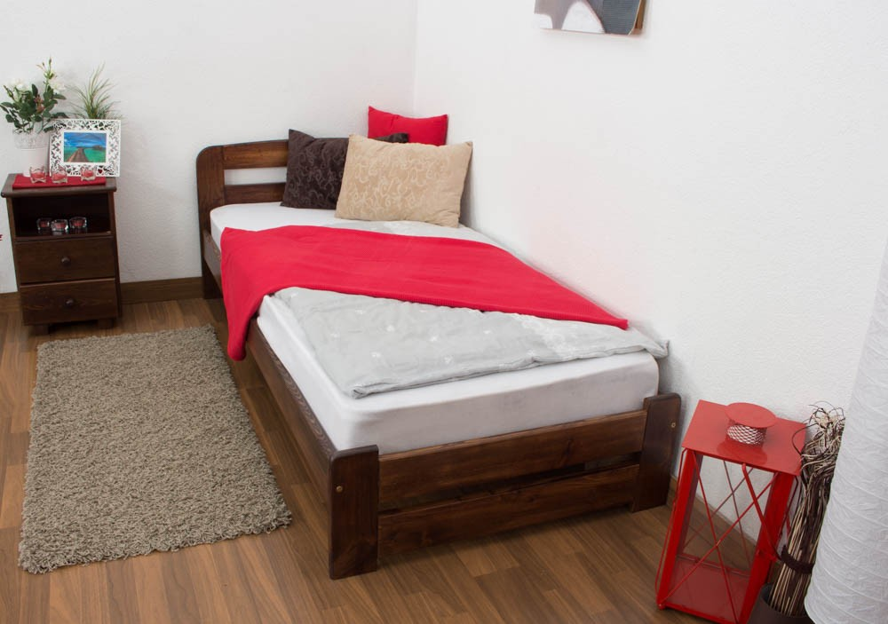 Slatted frames 90×200 single bed a7, solid pine wood, nut finish, incl. slatted frame - 90 WDNBJNN