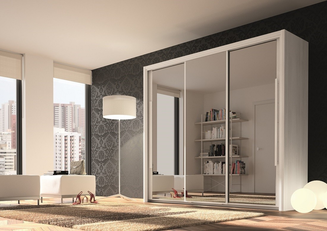 Sliding door wardrobes with mirror 3 door wardrobe bergen 230cm slider white + 3 mirrors ECSOVFY
