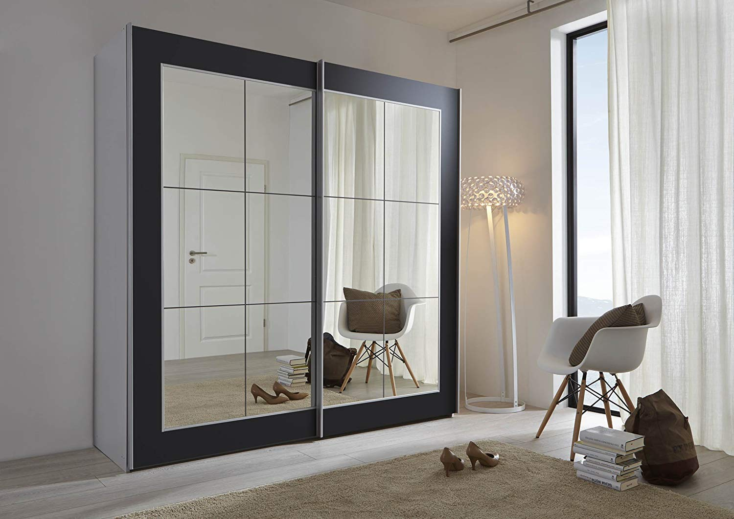 Sliding door wardrobes with mirror schlafzimmer lattice: black sliding door wardrobe with mirror - 202cm or  301cm STFEIRJ