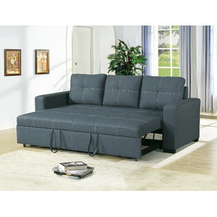 sofa beds with storage underneath esofastore convertible sofa blue grey polyfiber modern accent stitching  comfort plush couch MSGOBGS