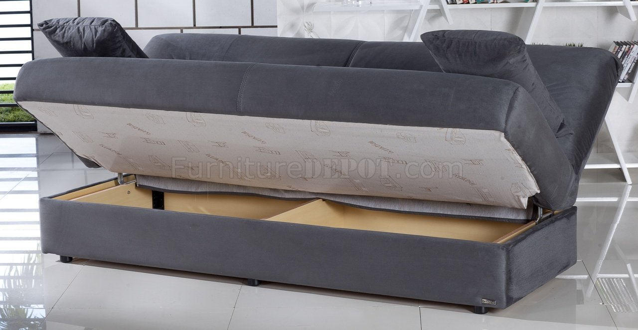 sofa beds with storage underneath regata sofa bed in rainbow dark gray fabric by istikbal ZZWPKWQ