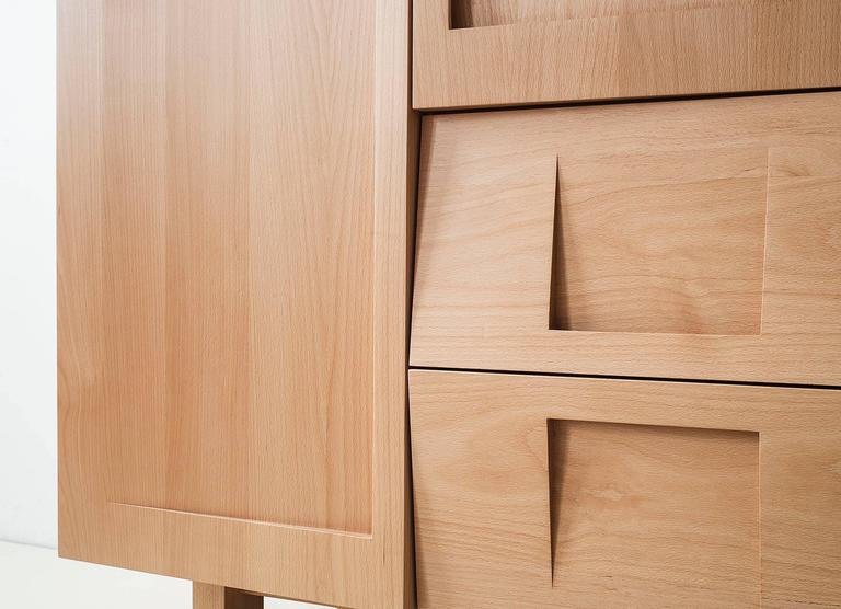 Wardrobes made of beech & core beech carved workstead wardrobe in beech with solid wood faceted doors for sale HTZOCFR