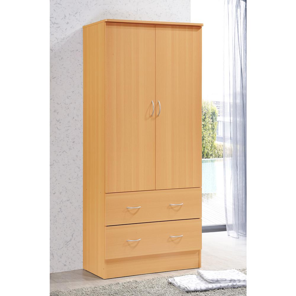 Wardrobes made of beech & core beech hodedah 2-door armoire with 2-drawers in beech TJIOVMS