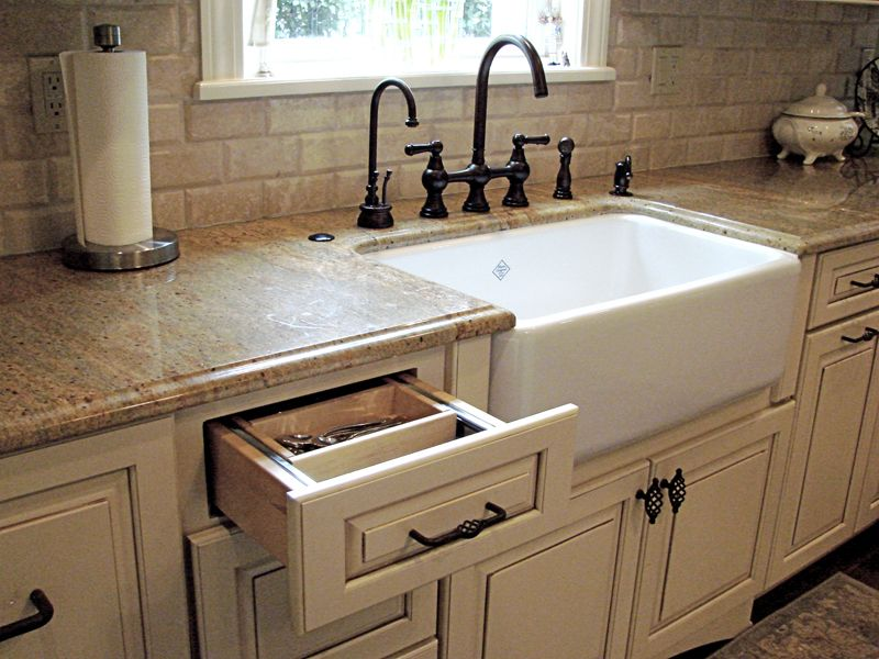 Which sink is suitable for a granite countertop modern farmhouse sink w/ cream cabinets u0026 granite countertops. OKNEENY