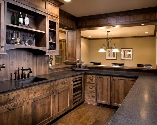 Wood kitchen love the color of stain wood kitchen cabinets knotty alder wood - different LYABUTT