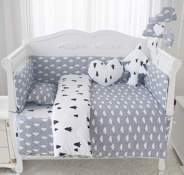 Baby Bedding Sets Comfortable Baby Bed Bumpers Pure Cotton Print AB