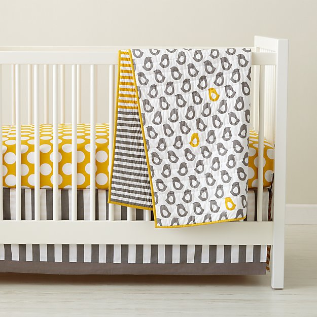 Baby Crib Bedding: Baby Grey & Yellow Patterned Crib Bedding | Crate