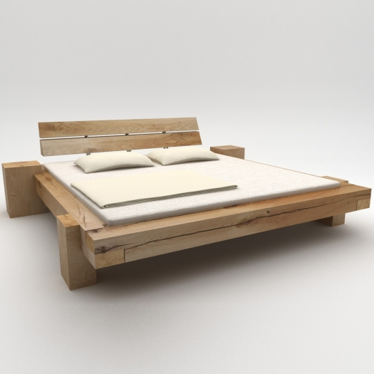 Beam beds wild oak 'Long night', with integrated side tables