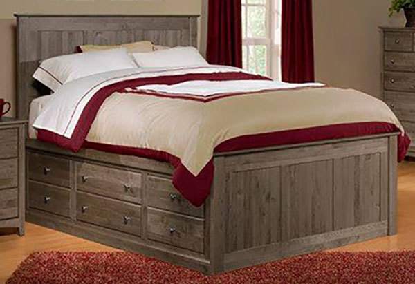 The Archbold solid alder chest bed has storage drawers on both sides