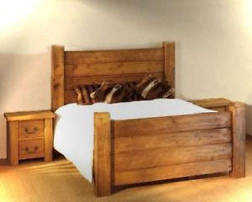 Handmade solid wood chunky panel bed frame made to measure in single