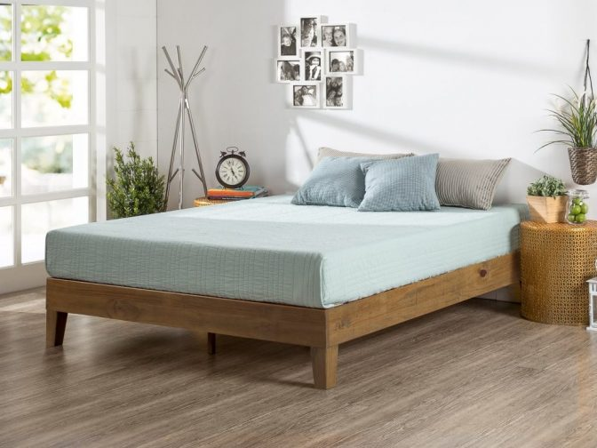 Bedroom Solid Wood Queen Platform Bed With Headboard Made Of Dark