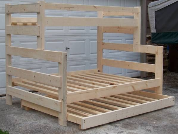 Custom made solid pine bunk beds. Beds are made out of 2x6 lumber so