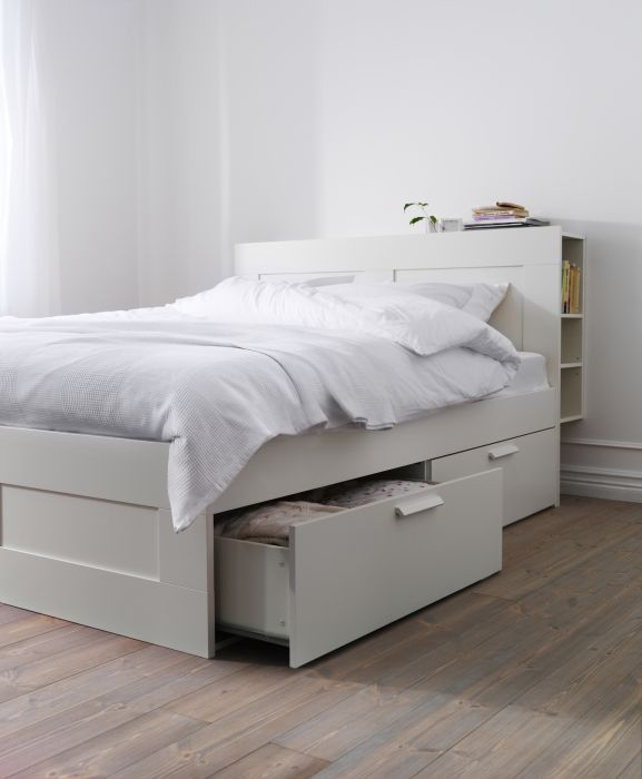 A bed with storage, like BRIMNES, helps maximize the storage space in your  bedroom.