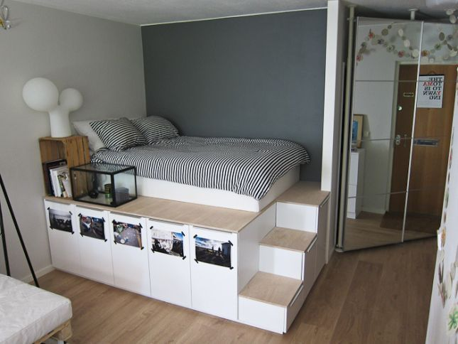 Elevated bed with lots of storage space More