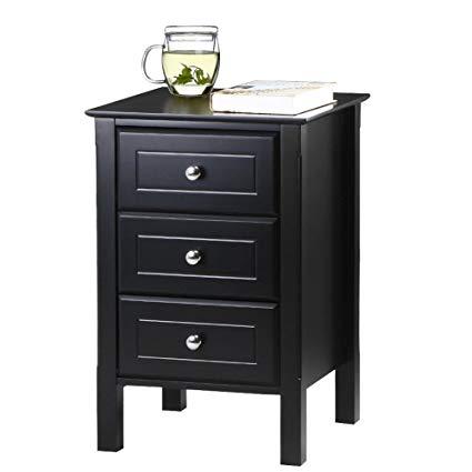 Amazon.com: Yaheetech Black Gloss 3 Drawers Bedside Table Cabinet