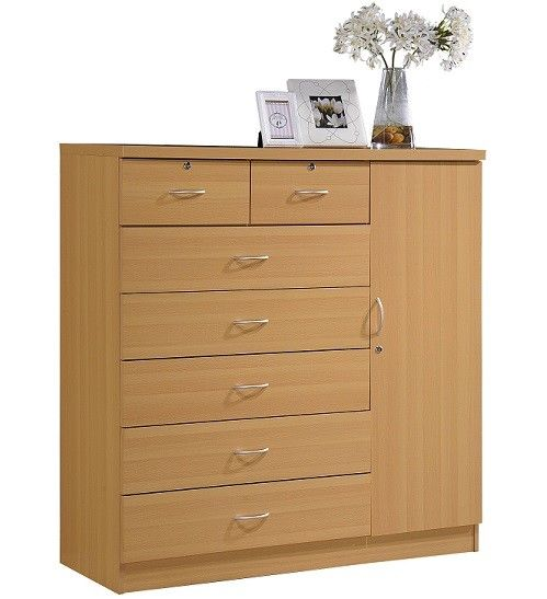 Large Bedroom Dresser Tall 7 Drawer Chest of Drawers Beech Wood