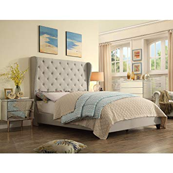 Amazon.com: Rosevera C41C721 Tufted Olympia Upholstered Bed, Queen