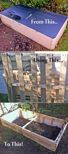Raised bed made from old bed frame and pallet wood. The question is: if