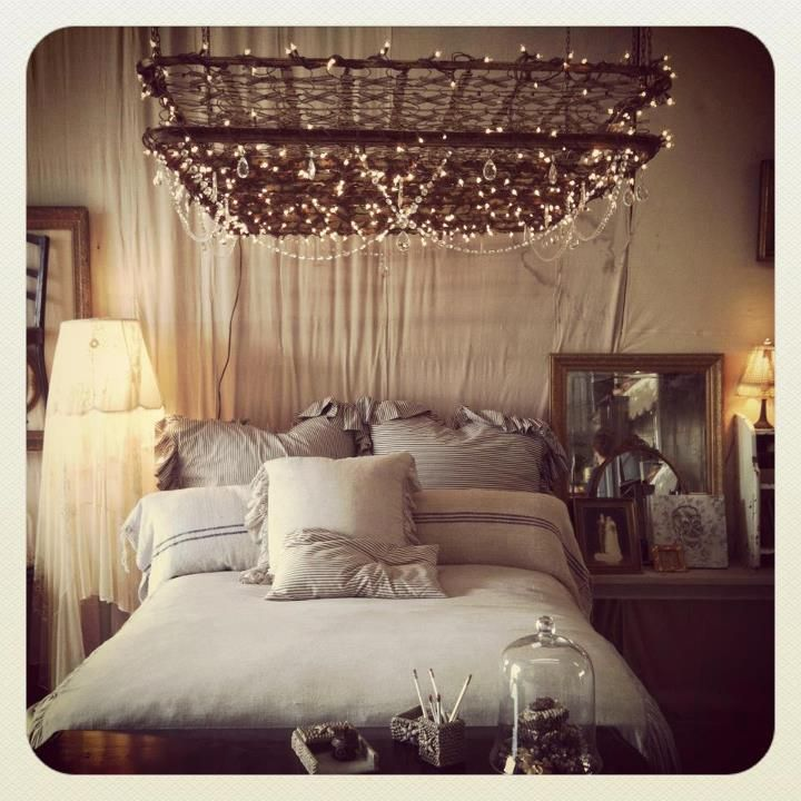 Old box spring mattress. Very romantic! Probably add a chandelier.