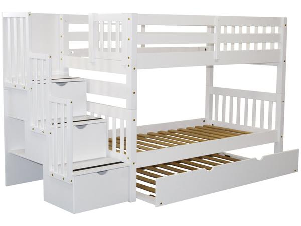 Bunk Beds Twin Stairway White | Twin Trundle $826