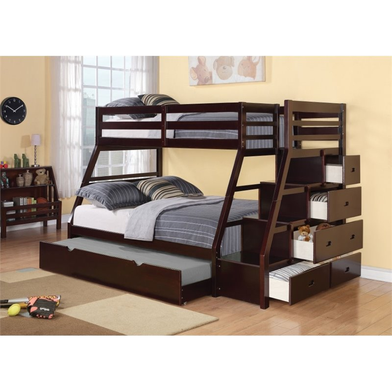ACME Jason Twin over Full Storage Bunk Bed with Trundle in Espresso