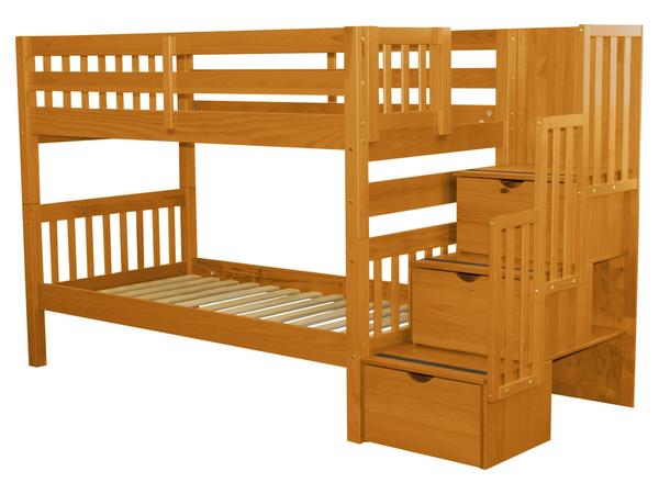 Stairway Twin over Twin Bunk Bed Honey