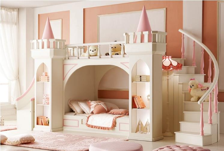 High end children's bedroom furniture girl princess castle bunk bed
