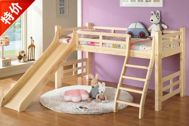 Cheap wood bed with slides for children and a half high guardrail