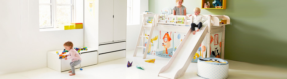 Children's high beds with slide