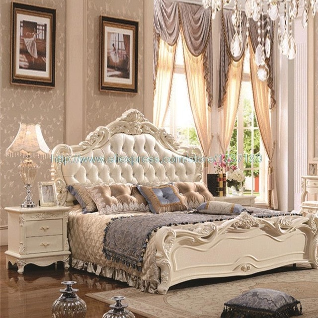 French Leather Luxury Double Bed 1.8 m marriage White Bed special