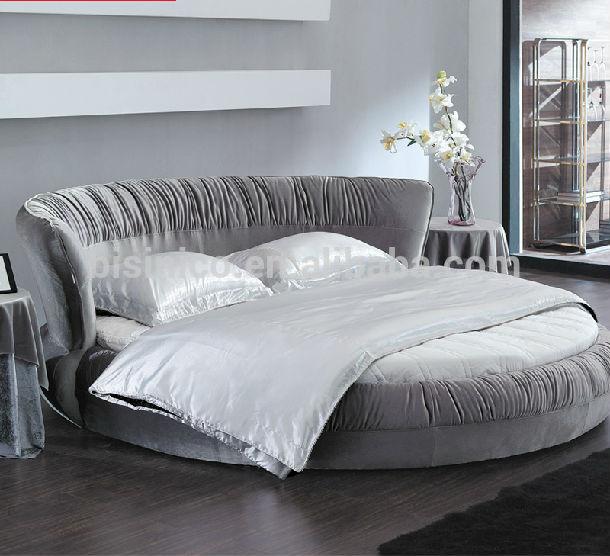 New Model--bisini Top Grade Fabric Grey Round Bed,Double Bed - Buy