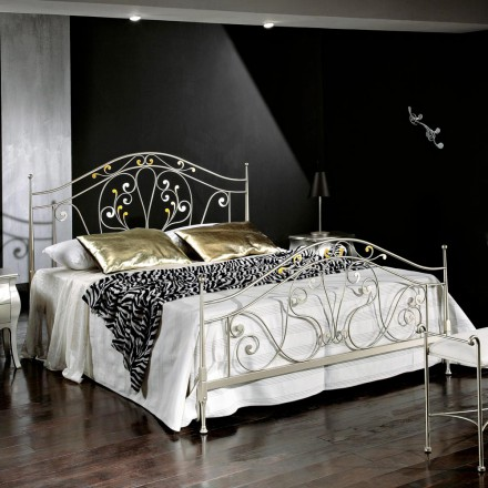 Iron double bed made of iron Jessica, classic design,handmade in Italy