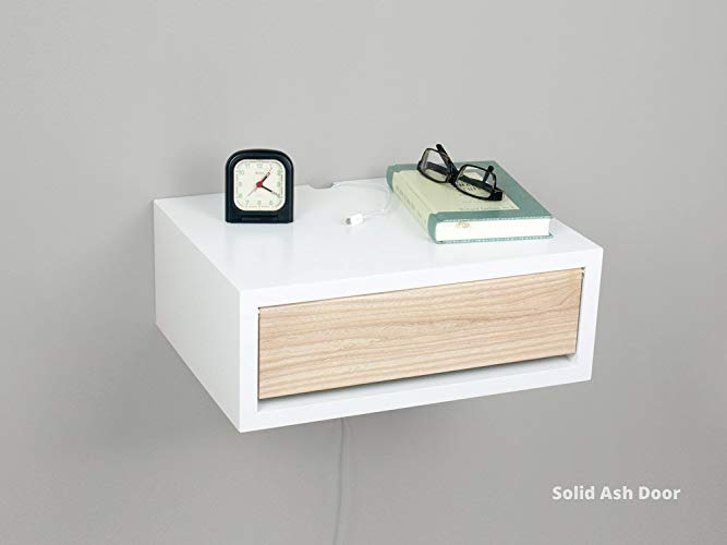 Amazon.com: White Contemporary Floating Nightstand, Wall Mount