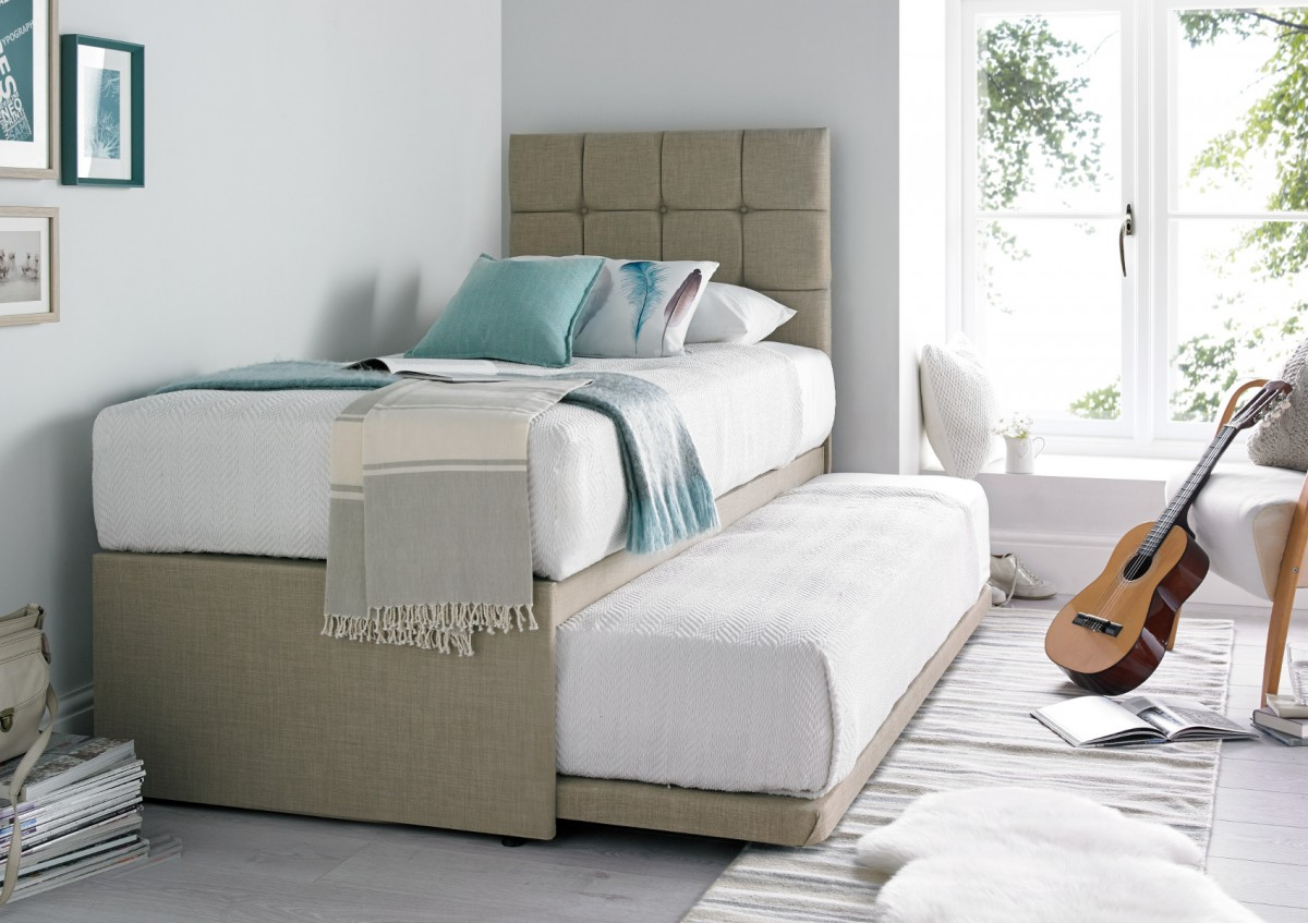 guest beds partners linoso cream upholstered guest bed with mattresses   blkikhj