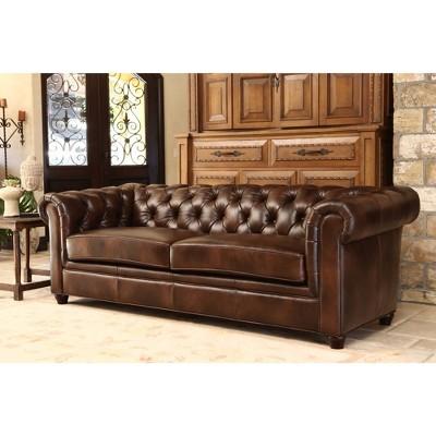 Keswick Tufted Leather Sofa - Abbyson Living : Target