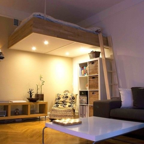 adult loft bed bespoke wood lights best design 2016 | apartment