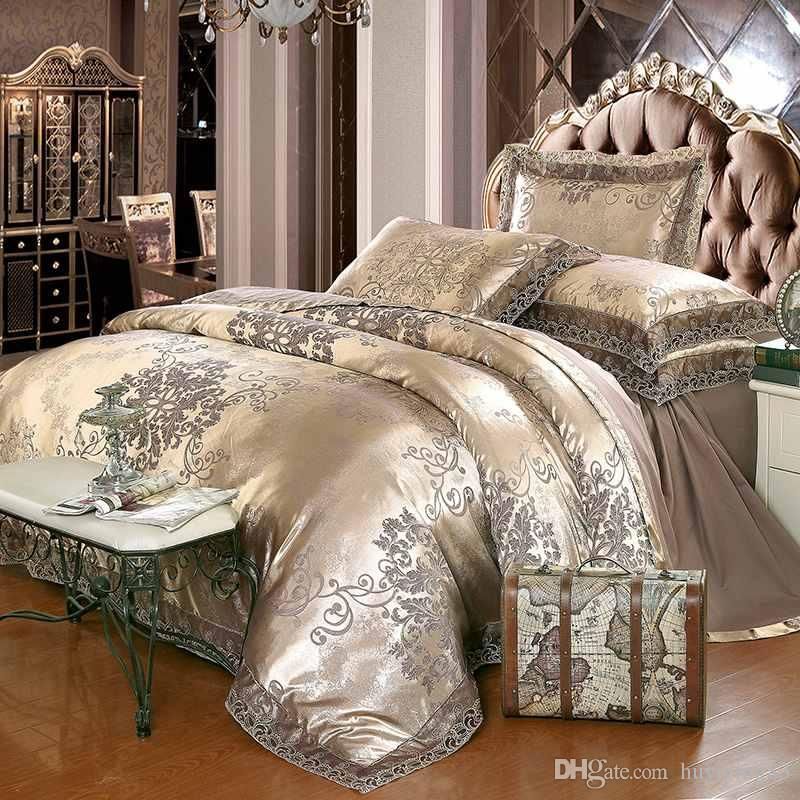 Gold Silver Coffee Jacquard Luxury Bedding Set Queen/King Size Stain Bed  Set 4/Cotton Silk Lace Duvet Cover Sets Bedsheet Home Textile Cheap  Comforters Sets