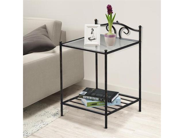 Yaheetech 2-Tiered End Table Rectangular Metal Bedside Table with