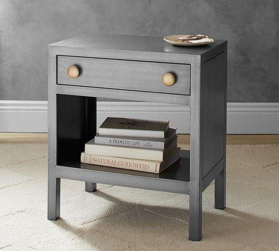 Silver Metal One Drawer Bedside Table