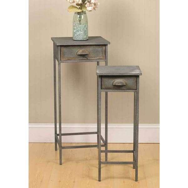 Shop Grey Metal Bedside Tables (Set of 2) - Free Shipping Today
