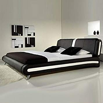 Frankfurt & Co Giovanni Modern Faux Leather Bed in Black & White  (4FT6-Double